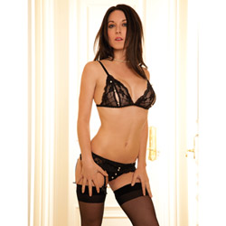 Peek-a-boo and pearl bralette and g-string set - bra and panty set