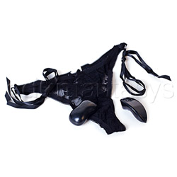 Remote control vibrating little black panty thong - sex toy