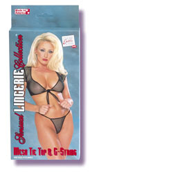Mesh tie & g-string - Top and panty set
