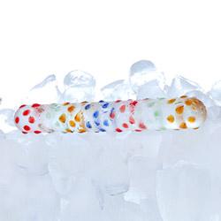 Classic glass dildo - Rainbow nubby wand - view #2