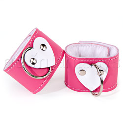 Pink heart wrist restraints - sex toy