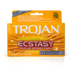 Trojan ultra ribbed ecstasy - condoms