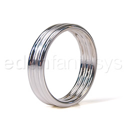 Silver ribbed cock ring