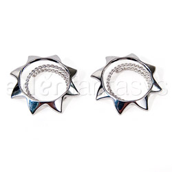 Nipple jewelry - Silver sun nipple shields - view #1