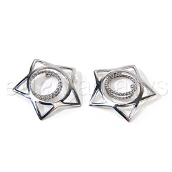 Silver star nipple shields - nipple jewelry