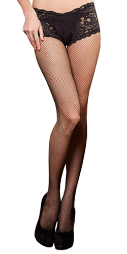 Fishnet pantyhose with lace control top