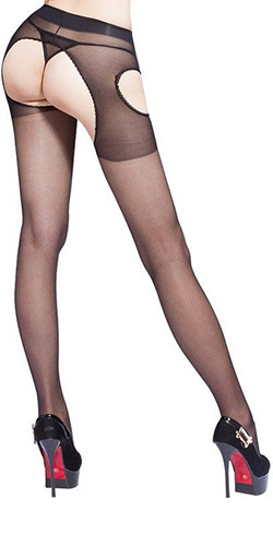 Sheer pantyhose with cutouts