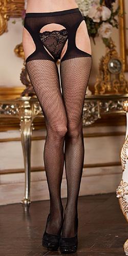 Garter fishnet stockings