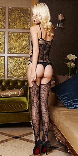 Flower lace garter bodystocking