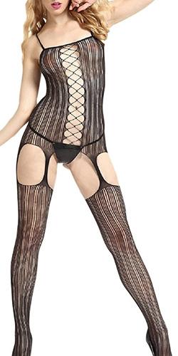 Striped garter bodystocking
