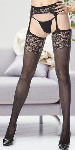 Floral garter pantyhose