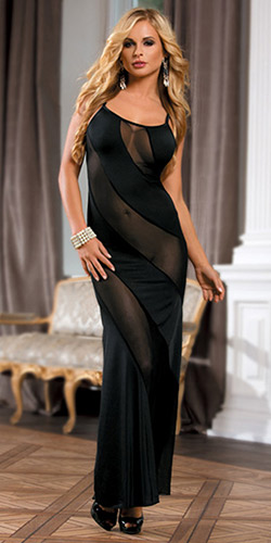 Add some sexy glamour with this long gown. Sheer front panels provide extra eye candy.