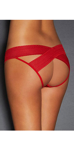 Easy access crotchless panty