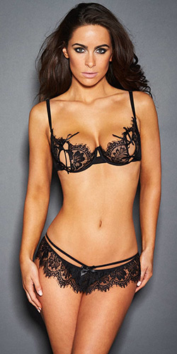 Glamour peek-a-boo bra set - Peek-a-boo bra and panty set