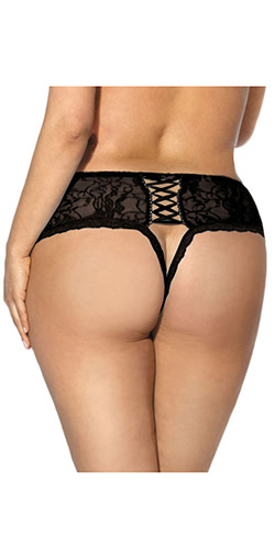 Lovely lace crotchless panty queen size
