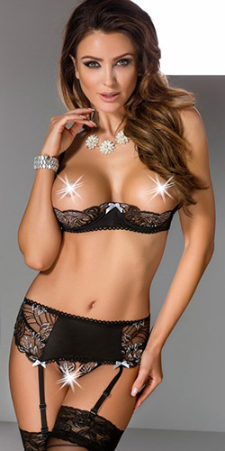 Opening night shelf bra set - Bra, panty and garter belt set
