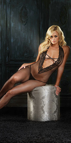 Crotchless deep V bodystocking