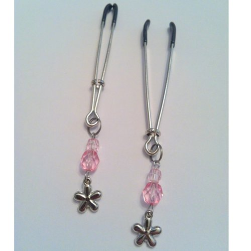 Pink Bead & Flower Charm