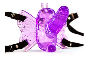 Remote control butterfly strap-on vibrator