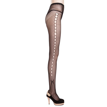 Side keyhole fishnet tights