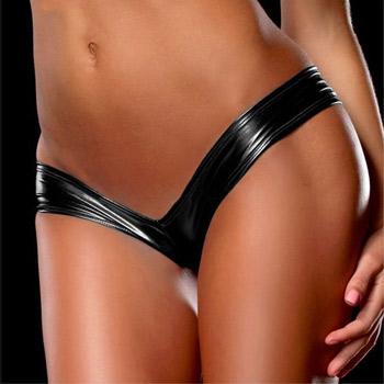 Image of Shorts - Wet look tanga panties