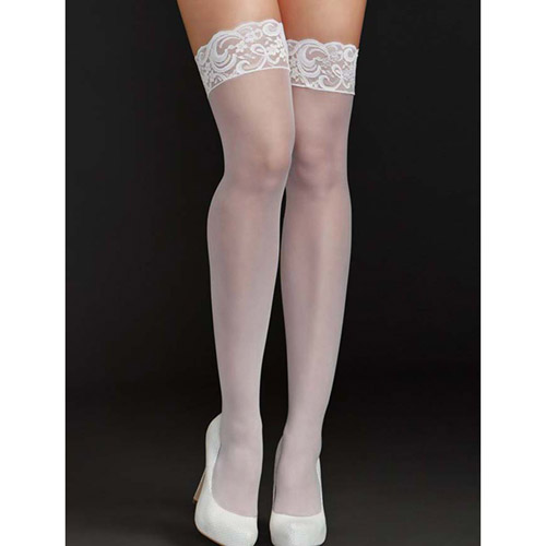 White nights lace top stocking