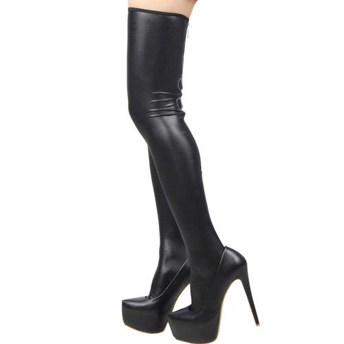 Zipped wet look stockings
