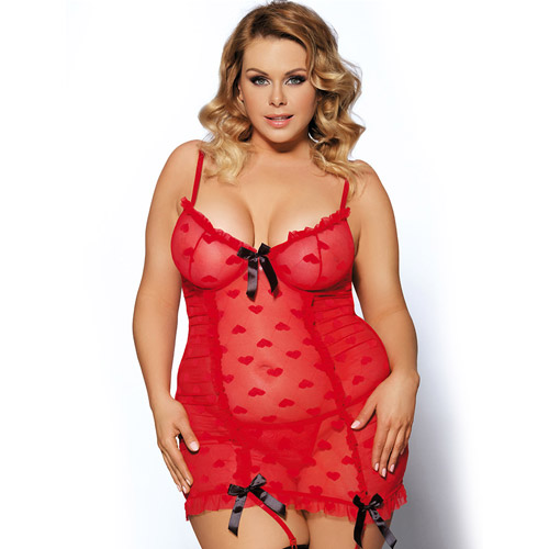 I heart you garter chemise set queen size